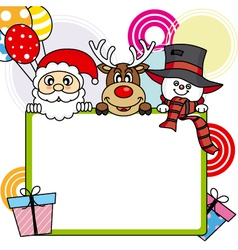 Santa claus reindeer snowman with poster vector