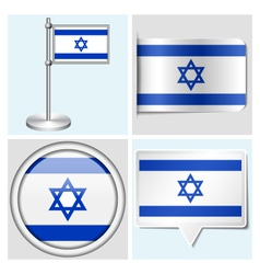 Israel flag - sticker button label flagstaff vector