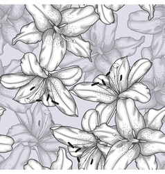 Black and white seamless background with lilies vector