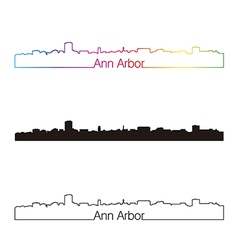 Ann arbor skyline linear style with rainbow vector