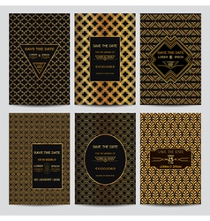 Set of wedding invitation cards - art deco style vector