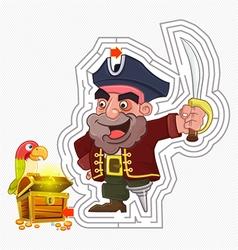Pirate treasure maze game vector