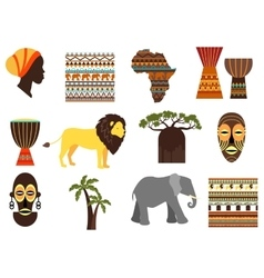 Africa safari emblems and flat icons vector