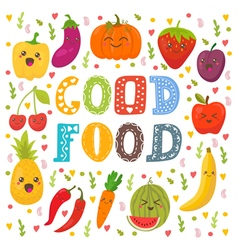 Good food cute happy fruits and vegetables in vector