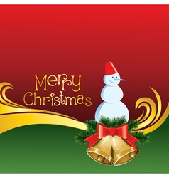 2012 christmas card with jingle bells and snowman vector