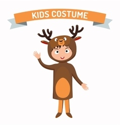 Deer kid costume isolated vector