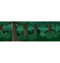 Cartoon summer forest with green lush foliage vector