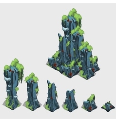 Set of underwater rock with different size vector