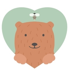 Animal set portrait of a bear in love flat vector