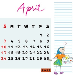 April 2016 kids vector