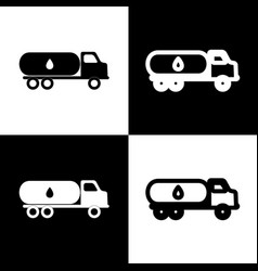 Car transports oil sign black and white vector