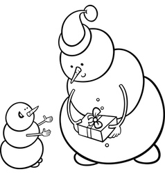 christmas snowmen coloring page vector image