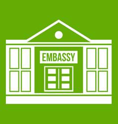 Embassy icon green vector