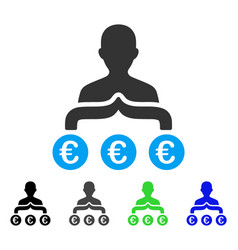 Euro capitalist flat icon vector