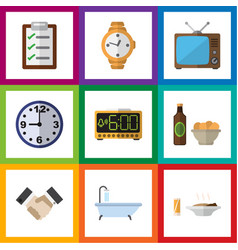 Flat icon lifestyle set of timer watch tub and vector