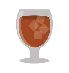 glass cocktail cup ice cubes design style vector image