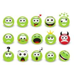 green emoticons vector image