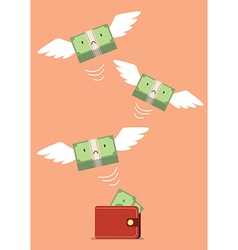Money bill flying out of wallet vector