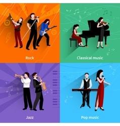 Musicians flat set vector