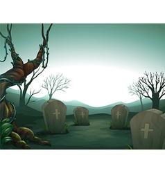 Night graveyard scene vector