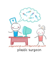 plastic surgeon at the computer says about the vector image vector image