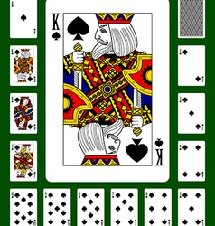 Playing cards of spades suit vector