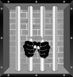 Prison bars freedom with hand vector