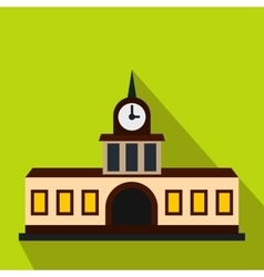 Railway station building icon flat style vector