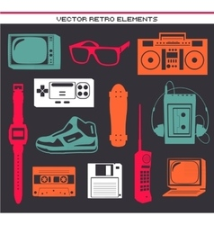 Retro 80 vintage elements set vector image vector image