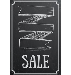 Sale concept with ribbon on black chalkboard vector image vector image
