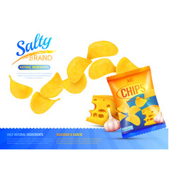 Salty snacks ad poster vector
