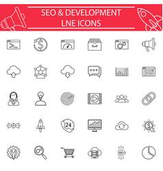 Seo and development line icon set vector