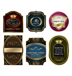 set colored gold framed labels vector image vector image