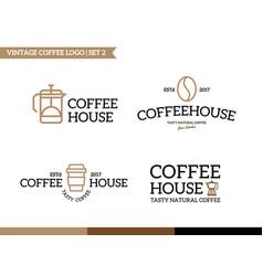 set of coffee and tea logo vector image vector image