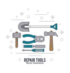 Shovel hammer screwdriver spatula pliers tool icon vector