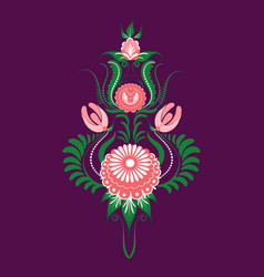 slavic folk traditional floral ornament stylized vector image