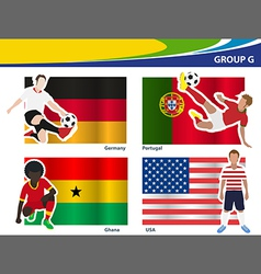 Soccer football players Brazil 2014 group G vector image vector image