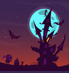 Spooky old haunted house with ghosts vector