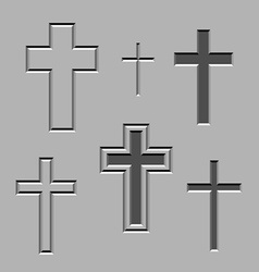 Stone carved christian crosses vector