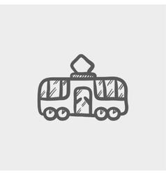 Tourist bus sketch icon vector