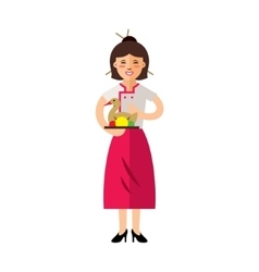 Waitress with Peking Duck Flat style vector image