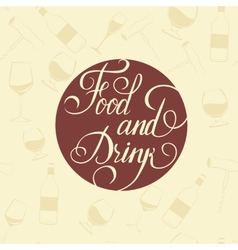 Word Food and Drink - on a white plate vector image vector image