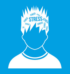 Word stress in the head of man icon white vector