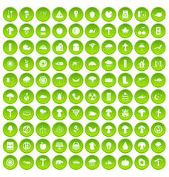 100 mushrooms icons set green circle vector