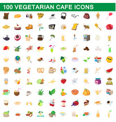 100 vegetarian cafe icons set cartoon style vector image vector image