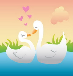 Ducks in love vector image