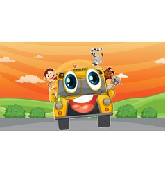 Various animals in school bus vector