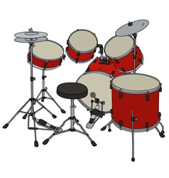 Red percussion set vector