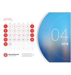 April 2018 desk calendar for 2018 year vector