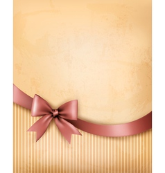 Background with old paper with gift bow and ribbon vector